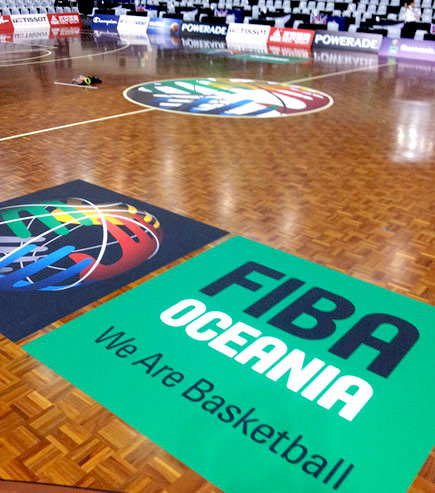 promotional floor decals for the NZ Breakers