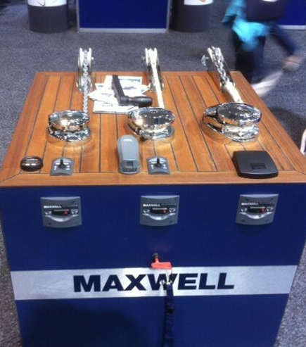 Maxwell display table printed with Logo
