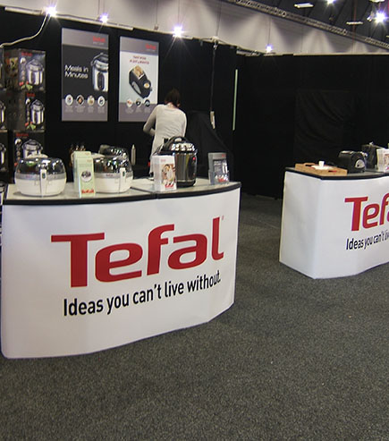 branded display table for Tefal